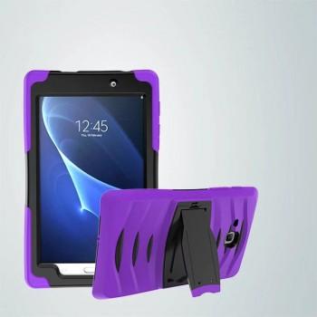 Противоударный двухкомпонентный силиконовый матовый непрозрачный чехол с поликарбонатными вставками для экстрим защиты с встроенной ножкой-подставкой для Samsung Galaxy Tab A 7 (2016)