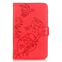 Чехол книжка подставка текстура Узоры на непрозрачной силиконовой основе с магнитной защелкой и отсеком для карт для Samsung Galaxy Tab A 7 (2016)  Красный