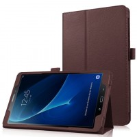Чехол книжка подставка с рамочной защитой экрана и крепежом для стилуса для Samsung Galaxy Tab A 10.1 (2016) Коричневый