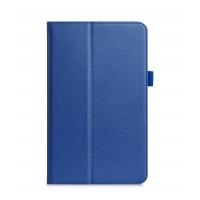 Чехол книжка подставка с рамочной защитой экрана, крепежом для стилуса, отсеком для карт и поддержкой кисти для Samsung Galaxy Tab A 10.1 (2016)  Синий