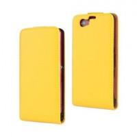 Чехол вертикальная книжка на пластиковой основе на магнитной защелке для Sony Xperia Z1 Compact  Желтый