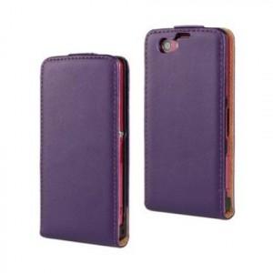 Чехол вертикальная книжка на пластиковой основе на магнитной защелке для Sony Xperia Z1 Compact  Фиолетовый