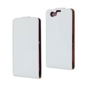 Чехол вертикальная книжка на пластиковой основе на магнитной защелке для Sony Xperia Z1 Compact  Белый