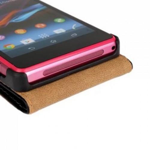 Чехол вертикальная книжка на пластиковой основе на магнитной защелке для Sony Xperia Z1 Compact