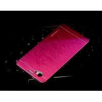 Пластиковый непрозрачный матовый чехол с текстурным покрытием Металл для Sony Xperia Z1 Compact Пурпурный