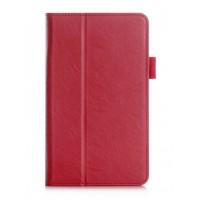 Чехол книжка подставка с рамочной защитой экрана, крепежом для стилуса, отсеком для карт и поддержкой кисти для Samsung Galaxy Tab A 7 (2016)  Красный