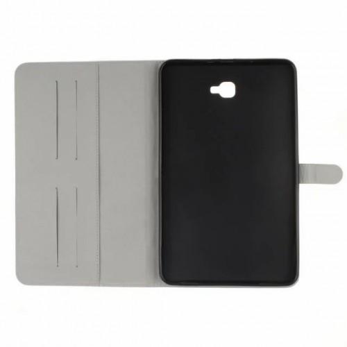 Чехол книжка подставка на непрозрачной силиконовой основе с магнитной защелкой, отсеком для карт и полноповерхностным принтом для Samsung Galaxy Tab A 10.1 (2016)