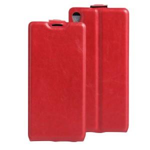 Чехол вертикальная книжка на силиконовой основе с отсеком для карт на магнитной защелке для Sony Xperia XA Красный