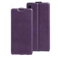 Чехол вертикальная книжка на силиконовой основе с отсеком для карт на магнитной защелке для Sony Xperia XA Фиолетовый