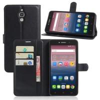 Чехол портмоне подставка на силиконовой основе на магнитной защелке для Alcatel One Touch Pixi 4 (6)  Черный