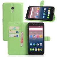 Чехол портмоне подставка на силиконовой основе на магнитной защелке для Alcatel One Touch Pixi 4 (6)  Зеленый