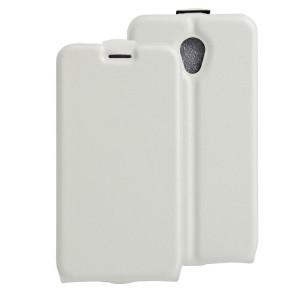 Чехол вертикальная книжка на силиконовой основе с отсеком для карт на магнитной защелке для Alcatel OneTouch Go Play  Белый