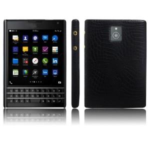 Чехол накладка текстурная отделка Кожа для BlackBerry Passport Черный