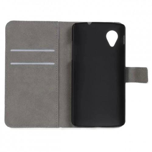 Чехол портмоне подставка на пластиковой основе с полноповерхностным принтом на магнитной защелке для Google LG Nexus 5