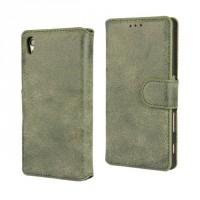 Винтажный чехол портмоне подставка на пластиковой основе на магнитной защелке для Sony Xperia Z5 Зеленый