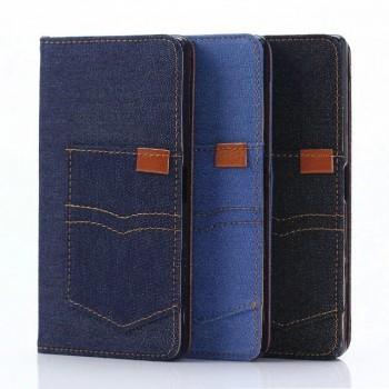 Чехол портмоне подставка на силиконовой основе с отсеком для карт и тканевым покрытием для Sony Xperia Z5