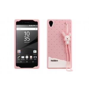 Силиконовый матовый непрозрачный дизайнерский фигурный чехол для Sony Xperia Z5  Розовый