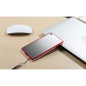 Металлический округлый бампер сборного типа на винтах для Sony Xperia Z5  Красный