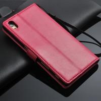 Чехол портмоне подставка на пластиковой основе на магнитной защелке для Sony Xperia Z5 Розовый