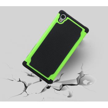 Противоударный двухкомпонентный силиконовый матовый непрозрачный чехол с поликарбонатными вставками экстрим защиты для Sony Xperia Z5