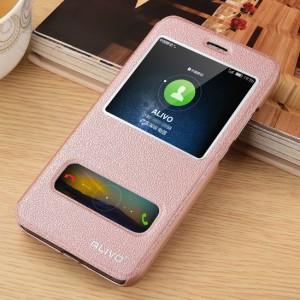 Чехол горизонтальная книжка подставка на пластиковой основе с окном вызова и свайпом для Huawei Honor 4C Pro Розовый