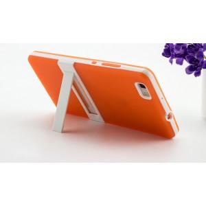 Двухкомпонентный силиконовый матовый полупрозрачный чехол с поликарбонатным бампером и встроенной ножкой-подставкой для Huawei P8 Lite