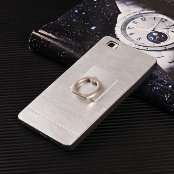 Пластиковый непрозрачный матовый чехол металлик с кольцом-подставкой для Huawei P8 Lite