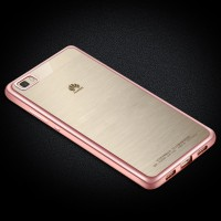 Силиконовый матовый полупрозрачный чехол с текстурным покрытием Металлик для Huawei P8 Lite Розовый