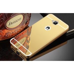 Двухкомпонентный чехол c металлическим бампером с поликарбонатной накладкой и зеркальным покрытием для Huawei Honor 4C Pro  Бежевый