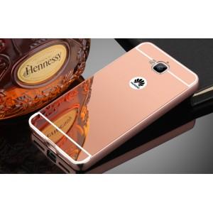 Двухкомпонентный чехол c металлическим бампером с поликарбонатной накладкой и зеркальным покрытием для Huawei Honor 4C Pro  Розовый