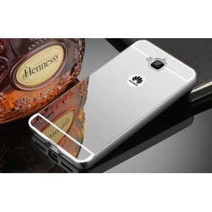 Двухкомпонентный чехол c металлическим бампером с поликарбонатной накладкой и зеркальным покрытием для Huawei Honor 4C Pro  Белый