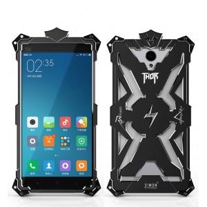 Цельнометаллический противоударный чехол из авиационного алюминия на винтах с мягкой внутренней защитной прослойкой для гаджета с прямым доступом к разъемам для Xiaomi RedMi Note 2  Черный