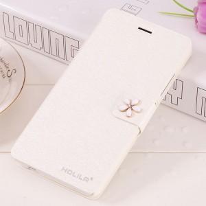 Чехол горизонтальная книжка подставка на пластиковой основе с отсеком для карт на дизайнерской магнитной защелке для Xiaomi RedMi Note 2  Белый