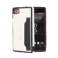 Силиконовый чехол накладка текстурная отделка Кожа с отсеком для карт и функцией подставки для Sony Xperia Z5 Compact  Белый