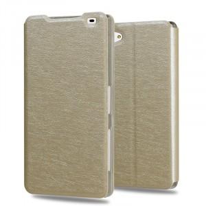 Чехол горизонтальная книжка подставка на пластиковой основе текстура Золото для Sony Xperia Z5 Compact