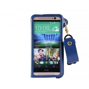 Чехол накладка текстурная отделка Кожа с отсеком для карт и функцией подставки для HTC One (M8)