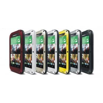 Эксклюзивный многомодульный ультрапротекторный пылевлагозащищенный ударостойкий нескользящий чехол алюминиево-цинковый сплав/силиконовый полимер с закаленным защитным стеклом для HTC One (M8)