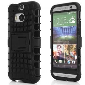 Противоударный двухкомпонентный силиконовый матовый непрозрачный чехол с поликарбонатными вставками экстрим защиты с встроенной ножкой-подставкой для HTC One (M8) Черный