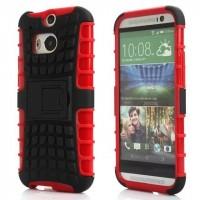 Противоударный двухкомпонентный силиконовый матовый непрозрачный чехол с поликарбонатными вставками экстрим защиты с встроенной ножкой-подставкой для HTC One (M8) Красный