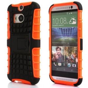 Противоударный двухкомпонентный силиконовый матовый непрозрачный чехол с поликарбонатными вставками экстрим защиты с встроенной ножкой-подставкой для HTC One (M8) Оранжевый