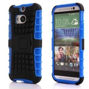 Противоударный двухкомпонентный силиконовый матовый непрозрачный чехол с поликарбонатными вставками экстрим защиты с встроенной ножкой-подставкой для HTC One (M8) Синий
