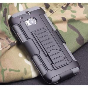 Противоударный двухкомпонентный силиконовый матовый непрозрачный чехол с поликарбонатными вставками, клипсой для ремня и встроенной ножкой-подставкой для HTC One (M8)
