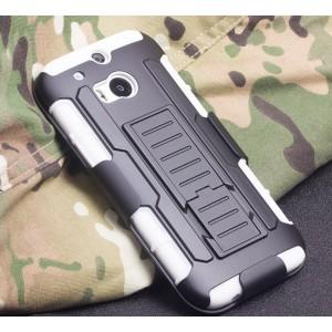 Противоударный двухкомпонентный силиконовый матовый непрозрачный чехол с поликарбонатными вставками, клипсой для ремня и встроенной ножкой-подставкой для HTC One (M8) Белый