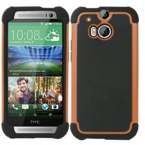 Силиконовый матовый непрозрачный дизайнерский фигурный чехол для HTC One (M8) Оранжевый