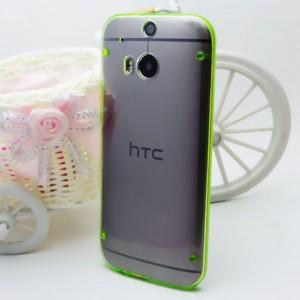 Силиконовый матовый полупрозрачный чехол для HTC One (M8) Зеленый