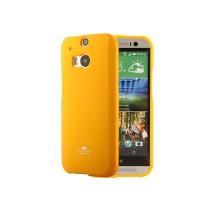 Силиконовый глянцевый непрозрачный чехол для HTC One (M8) Оранжевый