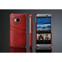 Чехол накладка текстурная отделка Кожа с отсеком для карт для HTC One (M8) Красный
