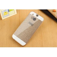 Пластиковый непрозрачный матовый металлик чехол для HTC One (M8)  Бежевый