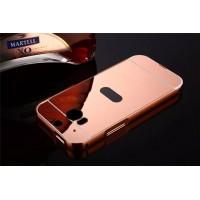 Двухкомпонентный чехол c металлическим бампером с поликарбонатной накладкой и зеркальным покрытием для HTC One (M8)  Розовый