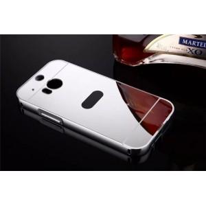 Двухкомпонентный чехол c металлическим бампером с поликарбонатной накладкой и зеркальным покрытием для HTC One (M8)  Белый